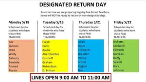 End of Year Item Return/Drop Off Schedule