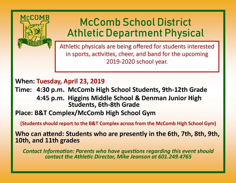 McComb School District Athletic Department Physical Featured Photo