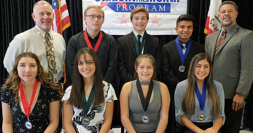 L-R Front: Charlyn Ghoubrial—EHS; Britney Nguyen—LHS; Mailei Rose—OHS; Ariel Nelson—TCHS. Back: Sally Myers, founder; Heidi Dodd—Trustee member; Tyler Leffler—EHS; Zachary Araneta—LHS; Campbell McGarvey—TCHS; Kim Joseph Cousins, CEO/President, LEVCC.