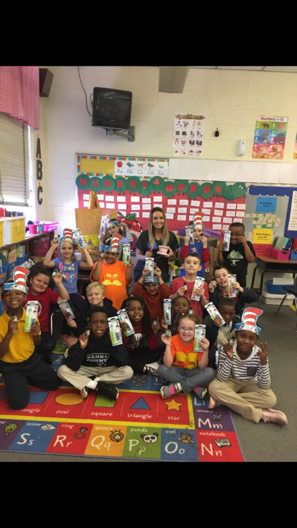 Dental Hygiene Awareness month is celebrated in Mrs. Beth Stebbins' class. The students received toothpaste, a toothbrush, and mouthwash. Pictured with students is Hope Shell, dental assistant for Dr. Ricks DDM.