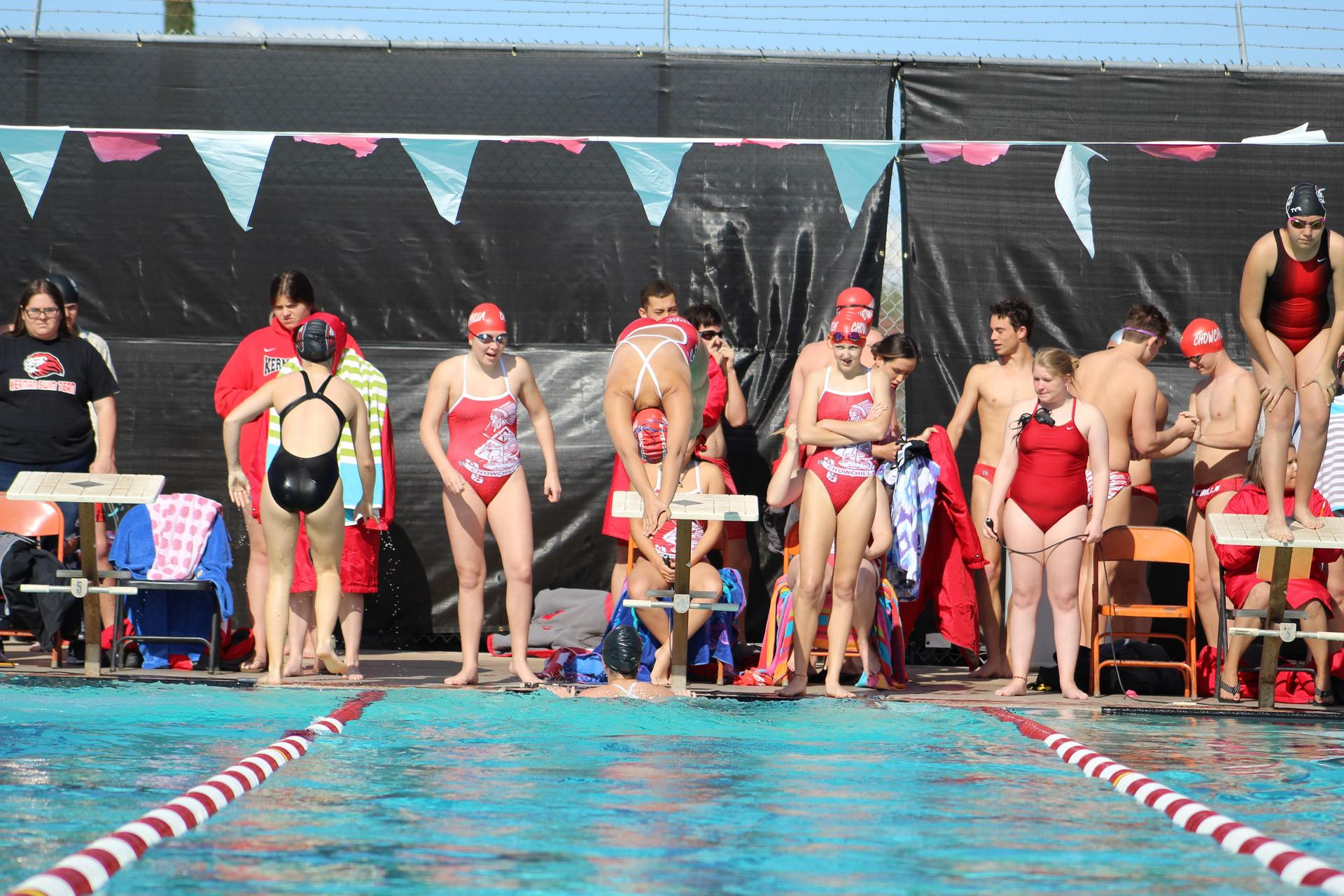 Swimmers in action against Kerman