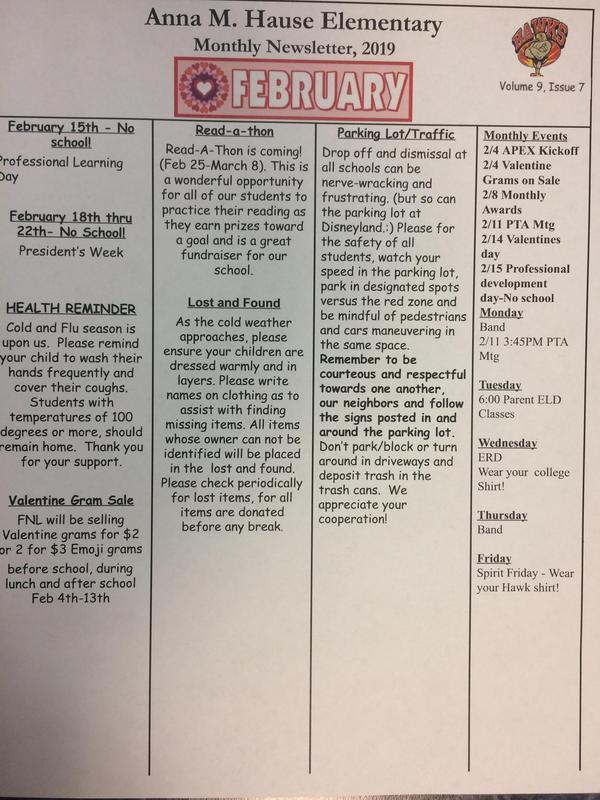 February newsletter for ahe
