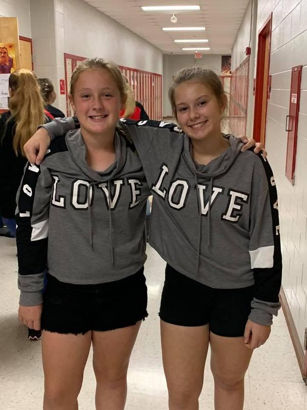 Students dressed as twins