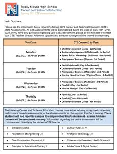 CTE Exam Information