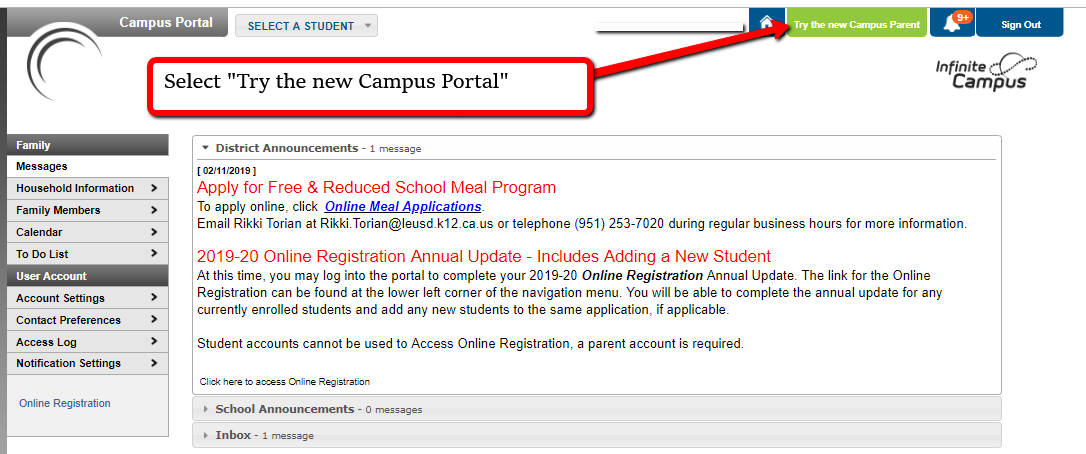 Screenshot of Infinite Campus Parent Portal 'Try the new Campus Portal' login button.