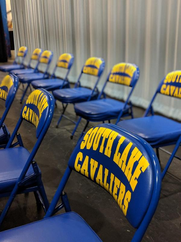 Chairs with South Lake Cavaliers on back