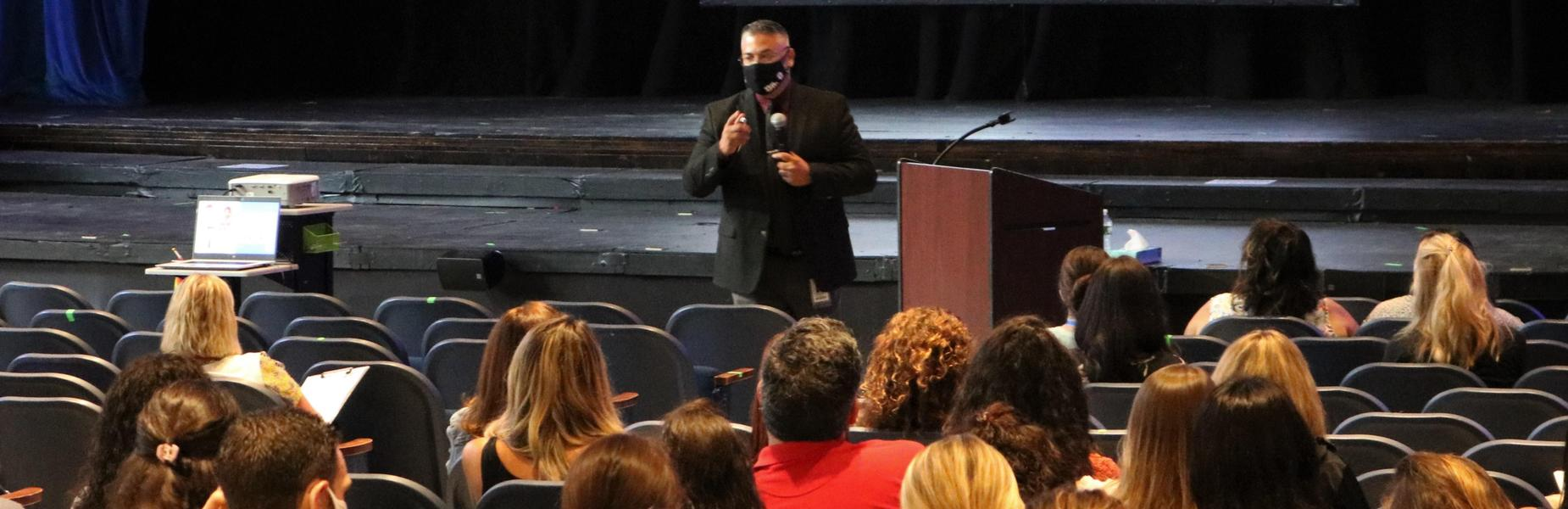 Westfield Superintendent of Schools Dr. Raymond González welcomes back staff during an opening day ceremony on Sept. 1.
