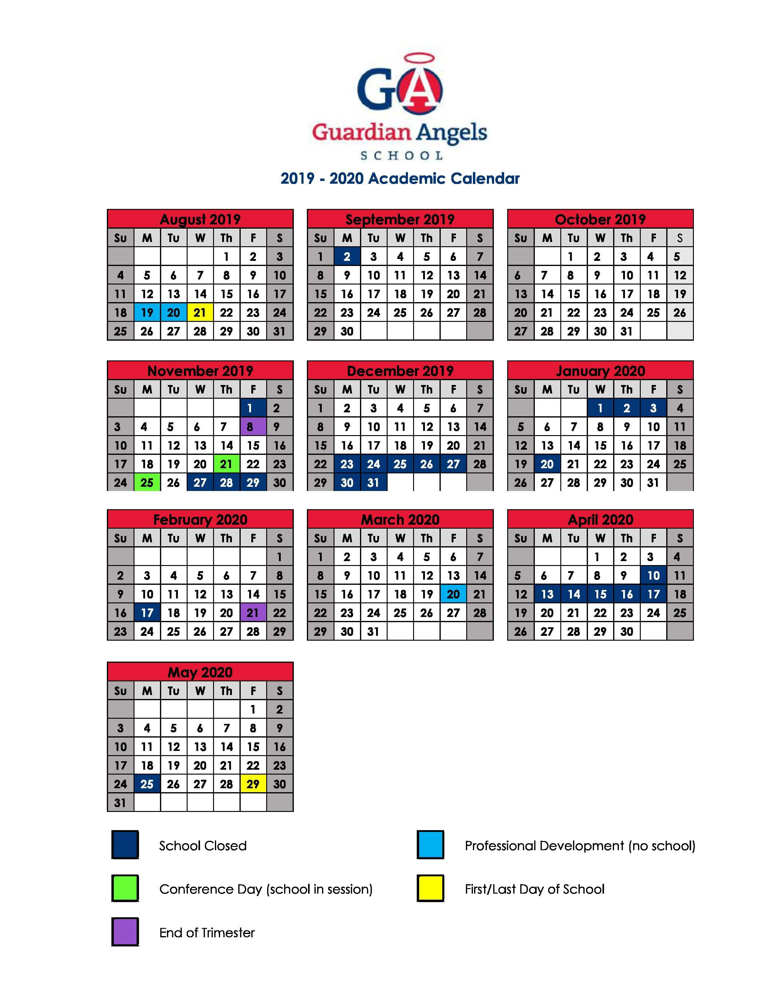 School Calendar – Parents – Guardian Angels School