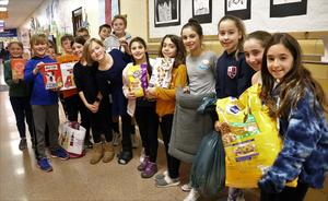 """Wilson School students display donations collected for a local animal shelter as part of the school's """"Month of Hope"""" in January."""
