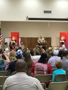 Deputy Cook addresses students and parents.