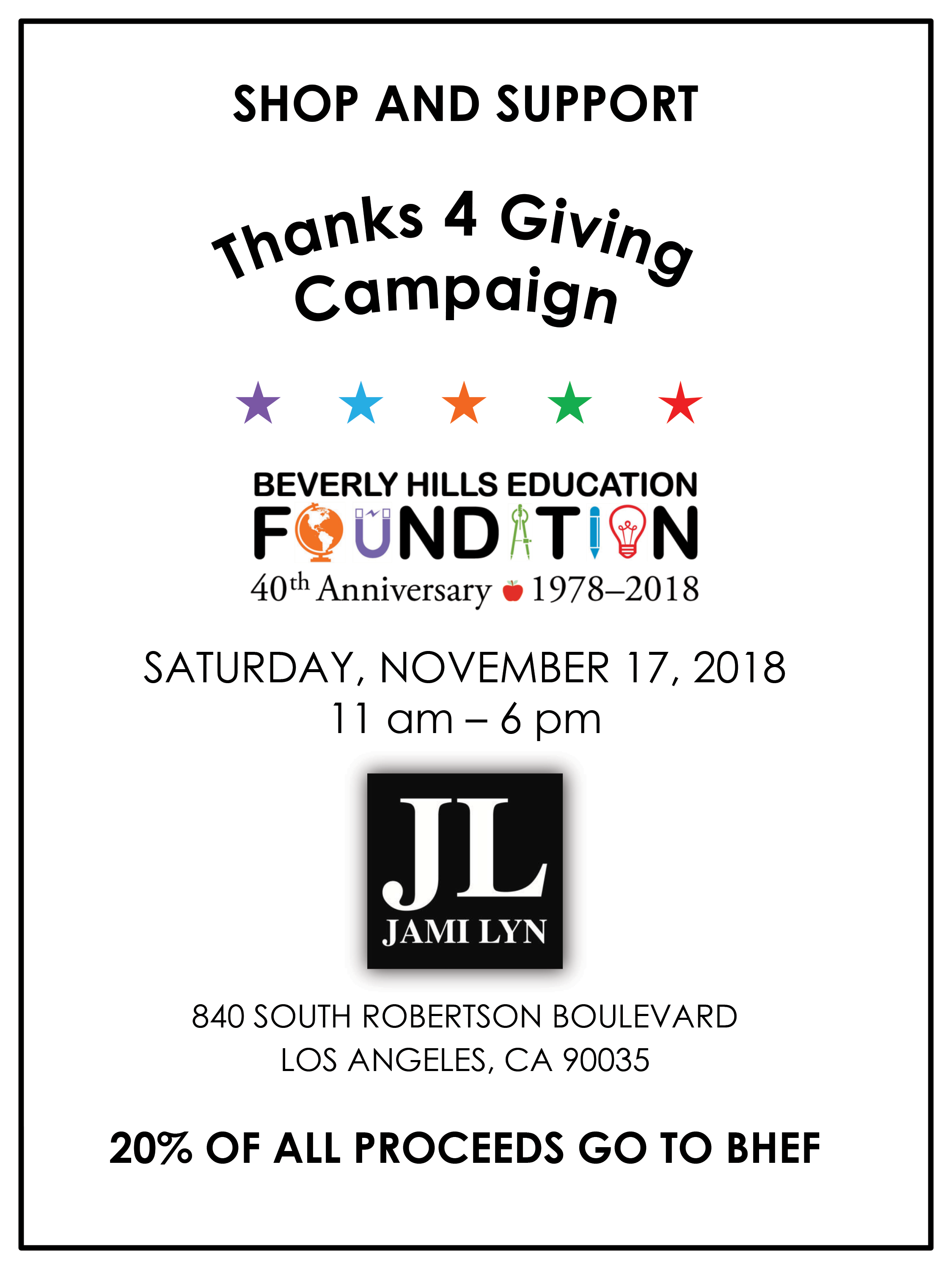 Shop at Jami Lyn and Support BHEF! November 17, 2018 11 AM through 6 PM. 20% of all proceeds will be donated to BHEF.