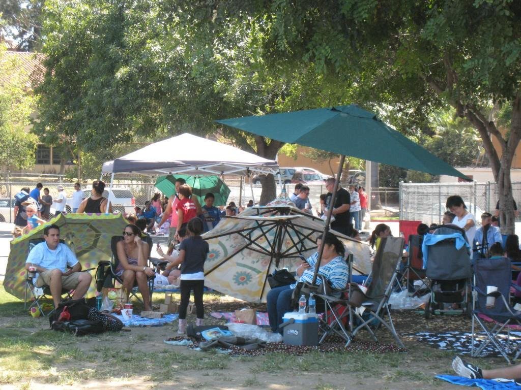 Families staying cool during the PTA/ASB Community Building Picnic