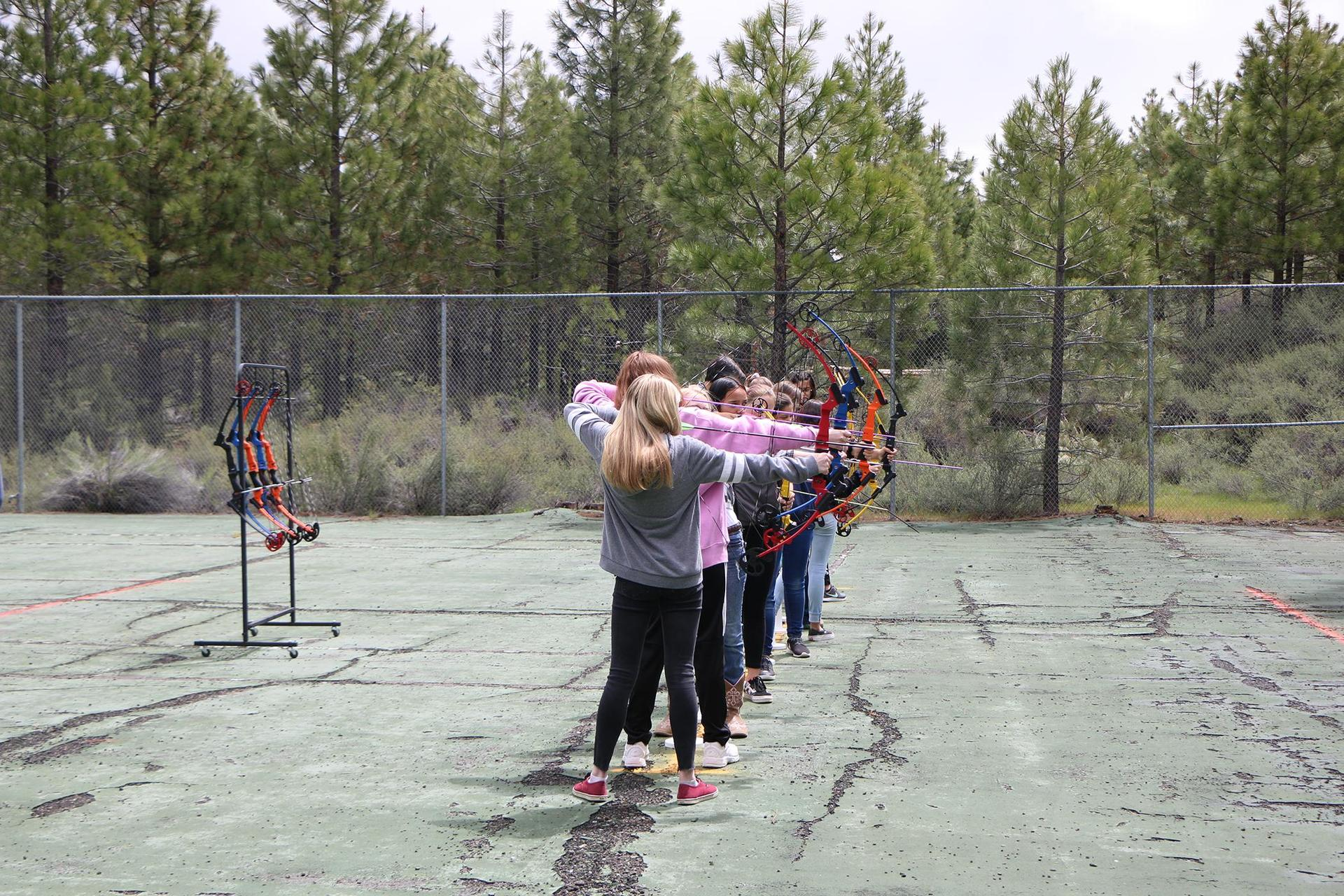 Students line up their shots