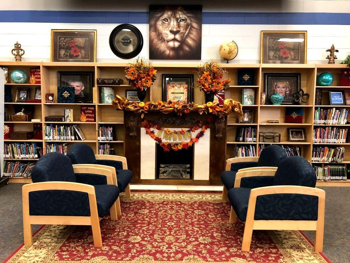 Harwell Middle School Library Fireplace