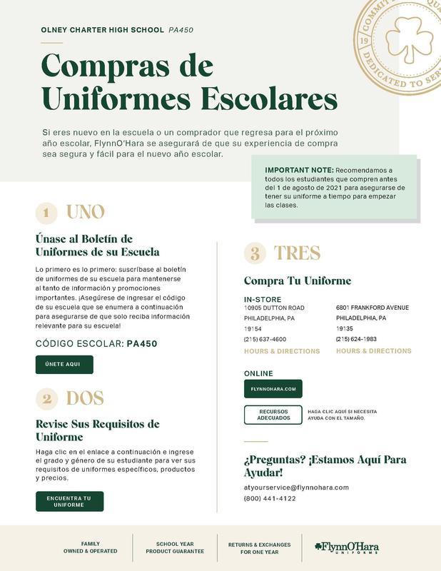 Olney Charter High School Uniform Ordering Reminder Featured Photo