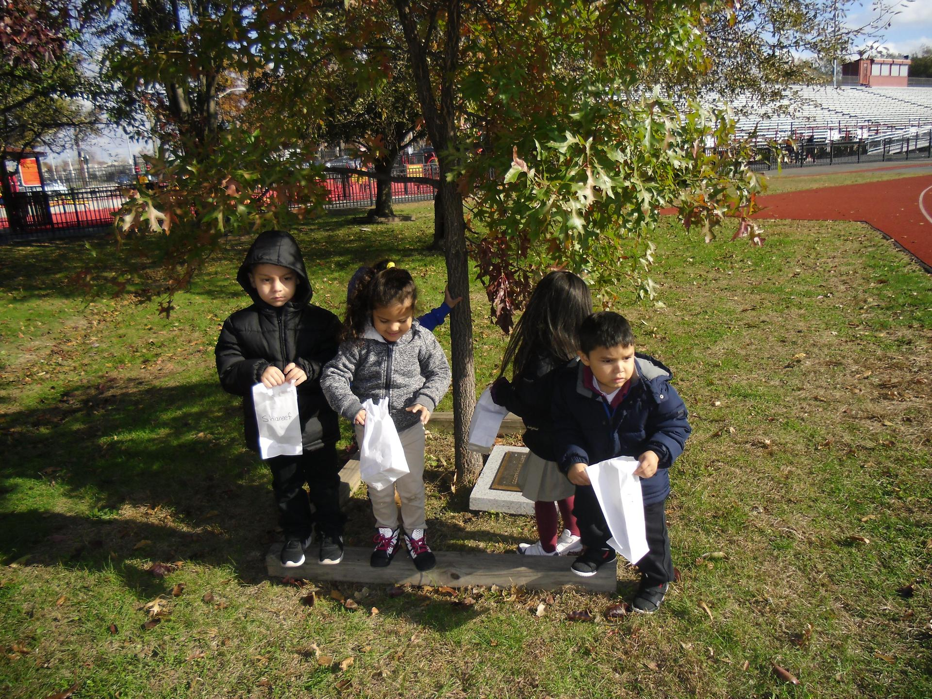 North Bergen Students going on a leaf hunt