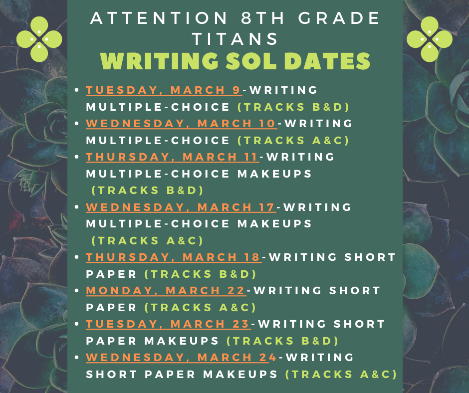 8th Grade Writing SOL test schedule