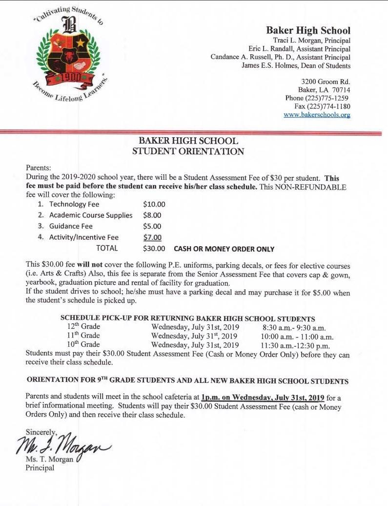 Baker High School - Student Orientation and Assessment Fees