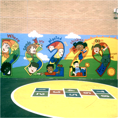 school playground with hopscotch and mural