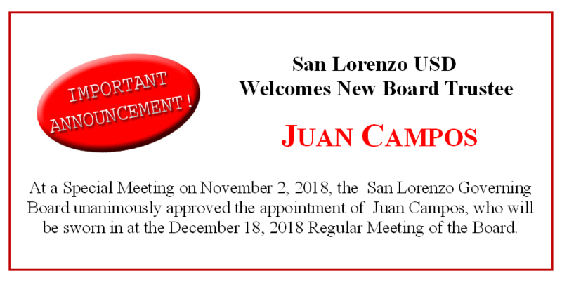 San Lorenzo Board of Education Appoints Juan Campos to the Governance Team Featured Photo