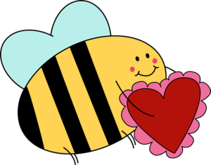 Bumblebee holding a red and pink valentine.