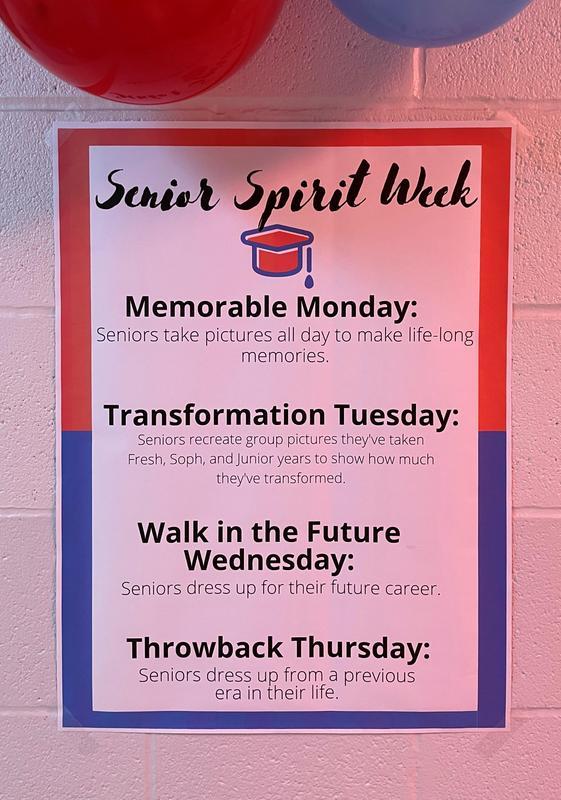 Poster listing the events for Senior Spirit week