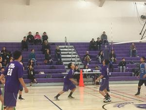 action shot of volleyball players playing the game
