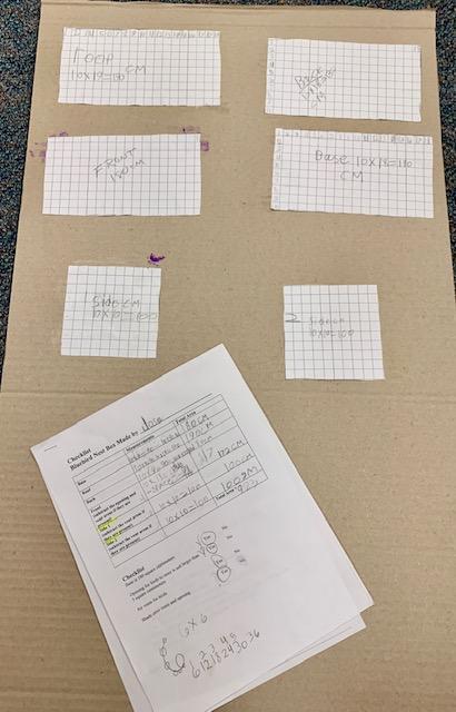 Students blueprint of their birdhouse.