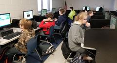 Mrs. Ricks' Geography class taking part in the Hour of Code.