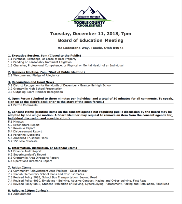 Board of Education Meeting December 11th Thumbnail Image