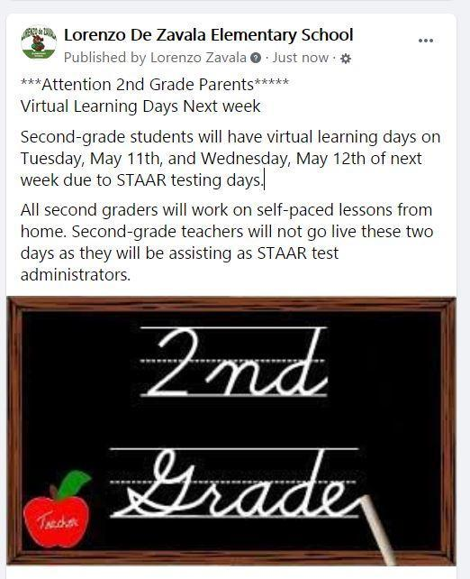 Second Grade Virtual Learning Days Featured Photo