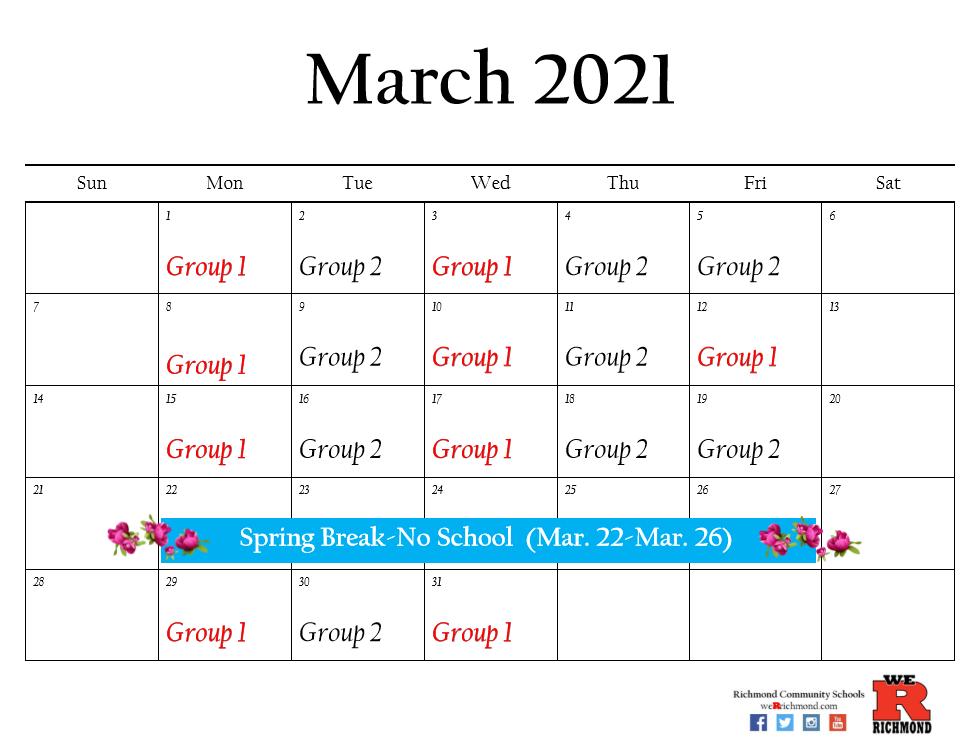 March 2021 Hybrid Calendar