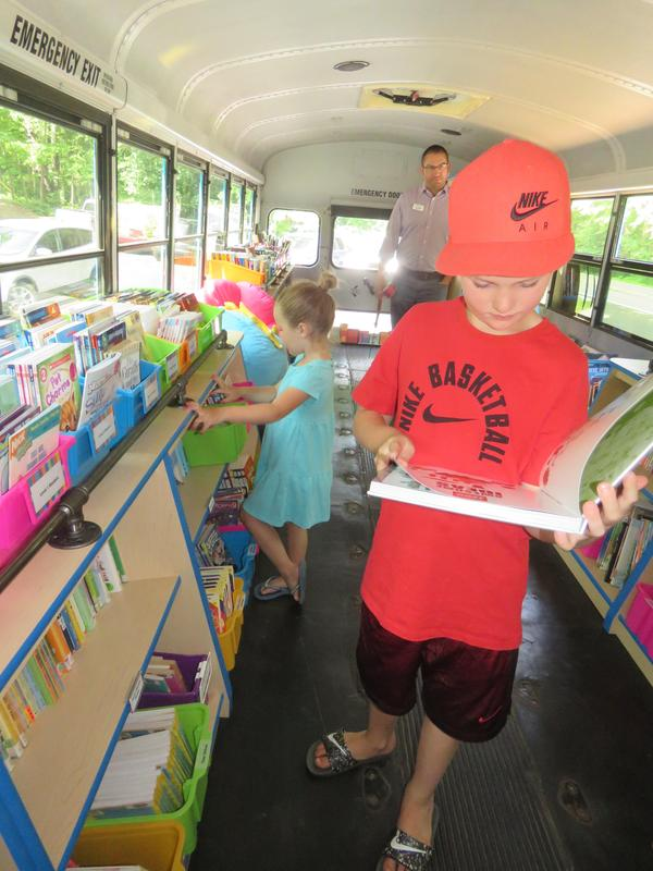 Some kids got a sneak peek at the the B. Bus during a ribbon cutting event at the YMCA.