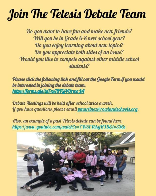 Join the Telesis Debate Team!!! Featured Photo