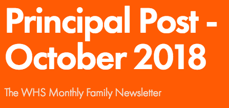 WHS Principal Post Newsletter - October 2018 Thumbnail Image