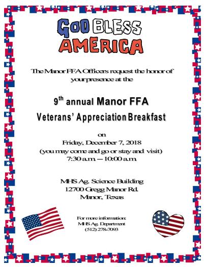 FFA presents the 9th annual Veteran's Breakfast Thumbnail Image