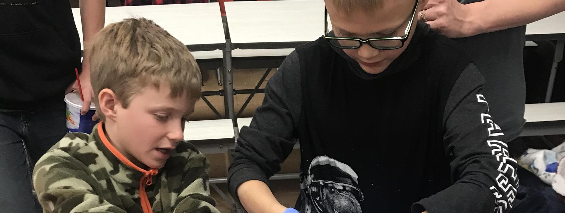 Students work on an experiment
