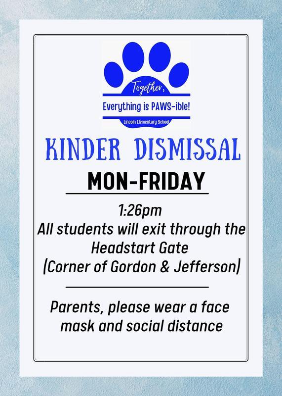 Kinder Phase II Dismissal  9/20 - 10/22