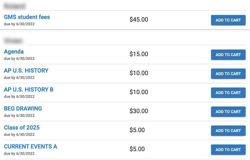 student fees screenshot