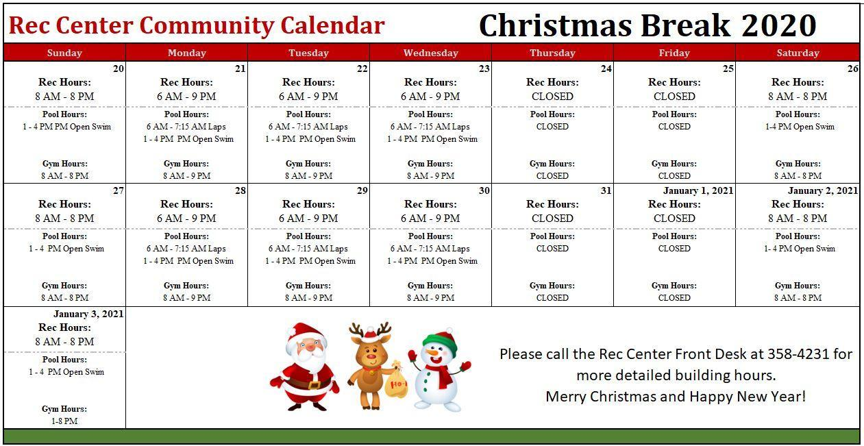 2020 Christmas Break Calendar