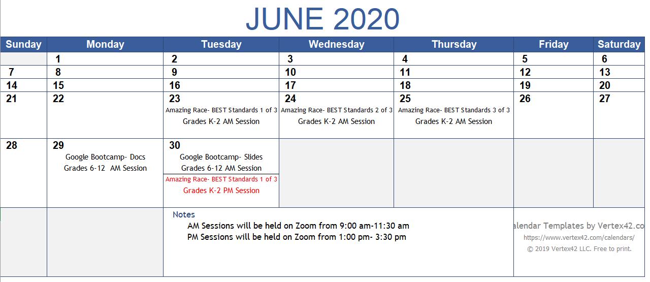June PD Calendar