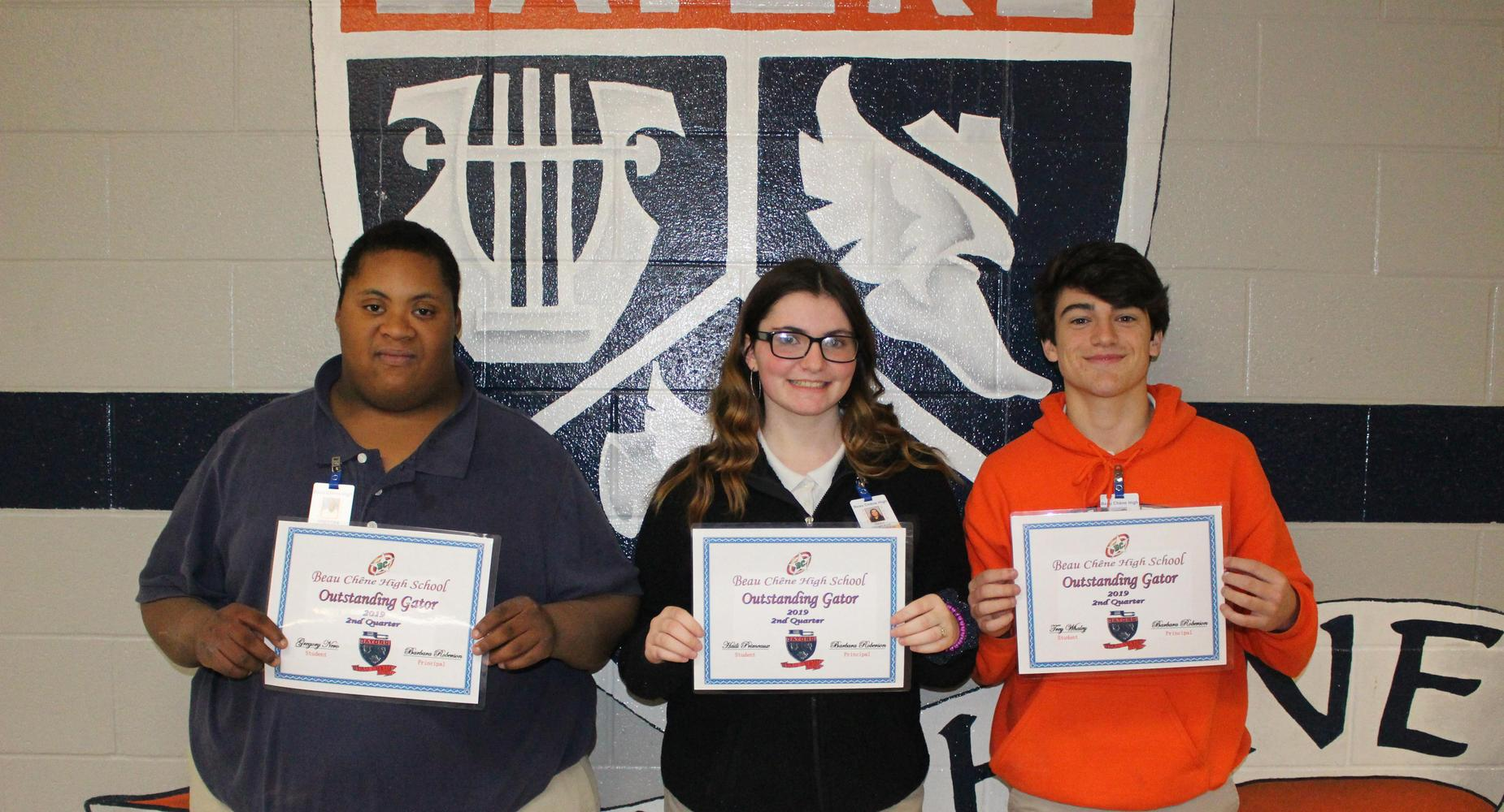 PBIS - Outstanding Gators:  Gregory Nero, Haili Primeaux and Trey Whaley