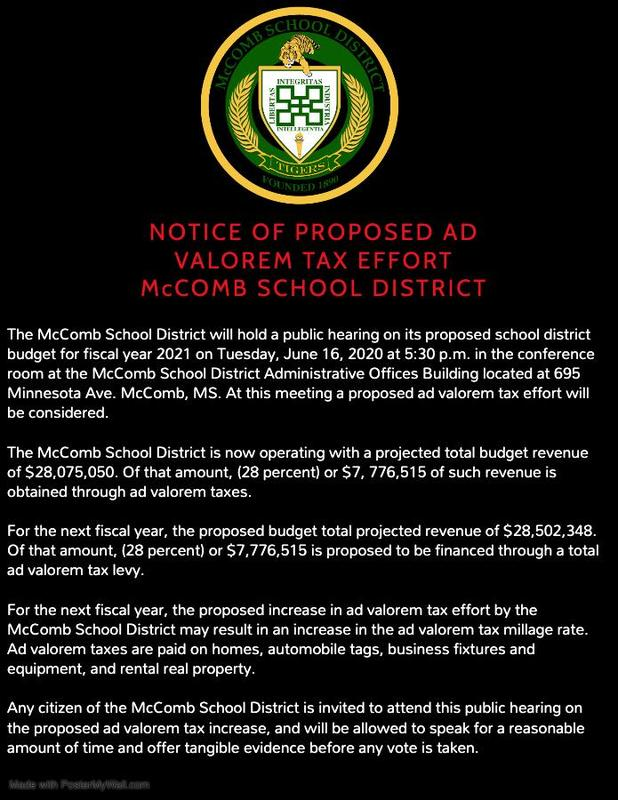 NOTICE OF PROPOSED AD VALOREM TAX EFFORT MCCOMB SCHOOL DISTRICT  #ItsComeBackTime