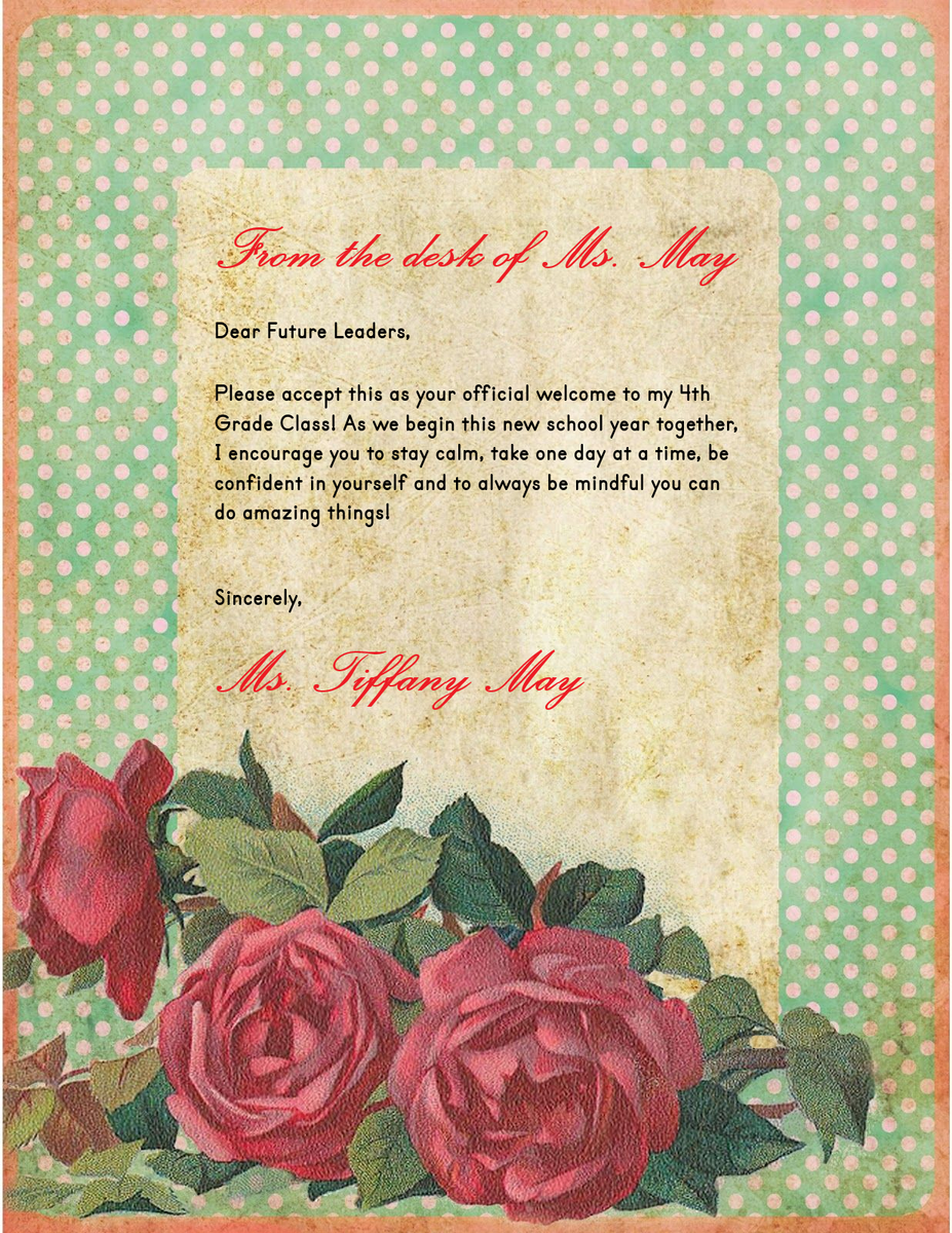 Ms. May's Shabby Chic Webpage Letter August 2020