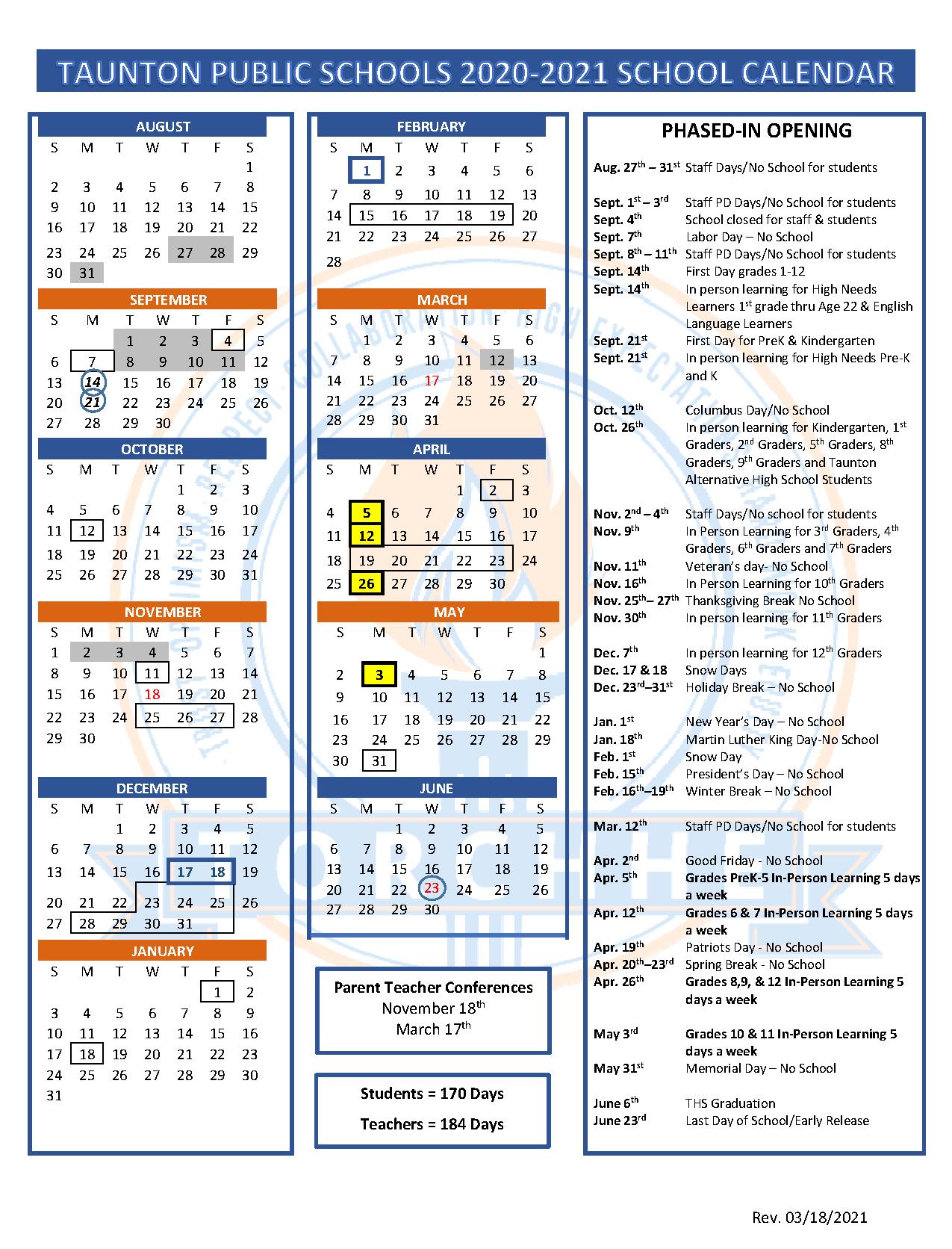 COVID Shorten Calendar