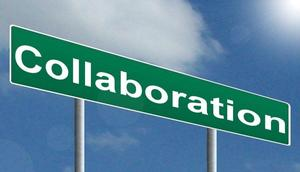 photo of a sign with the word collaboration