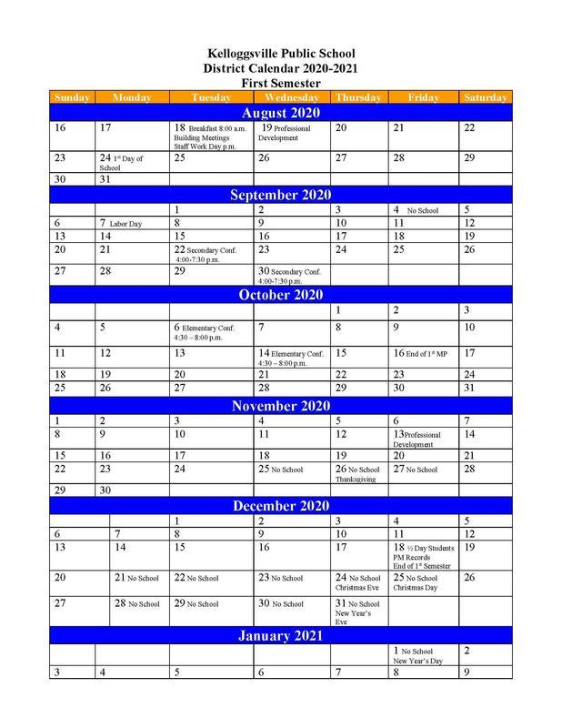 2020-2021 1st Semester Calendar