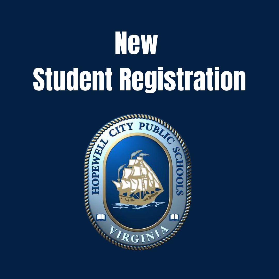 the image is a blue background with the HCPS logo on it. The words New Student Registration are above the logo.