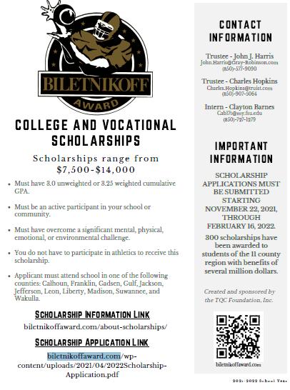 Biletnikoff Scholarships
