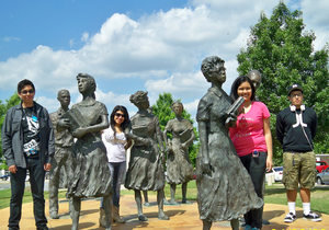 Central City Value Students in Little Rock among the statues of the Little Rock Nine